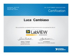 Diploma Certified LabVIEW Architect di Luca Cambiaso